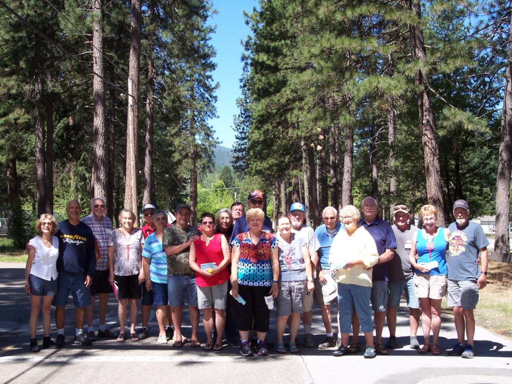 Group picture taken at Pioneer RV Park in Quincy CA - June 2019